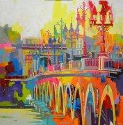 Automne, Pont de Pierre - 100x100cm