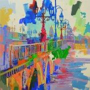 Bordeaux, Pont-de-Pierre, Hiver - 100x100cm
