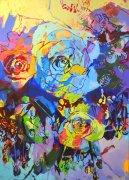 Rose bleue 92x65cm